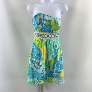 Lilly Pulitzer Blue Strapless Dress Size 0
